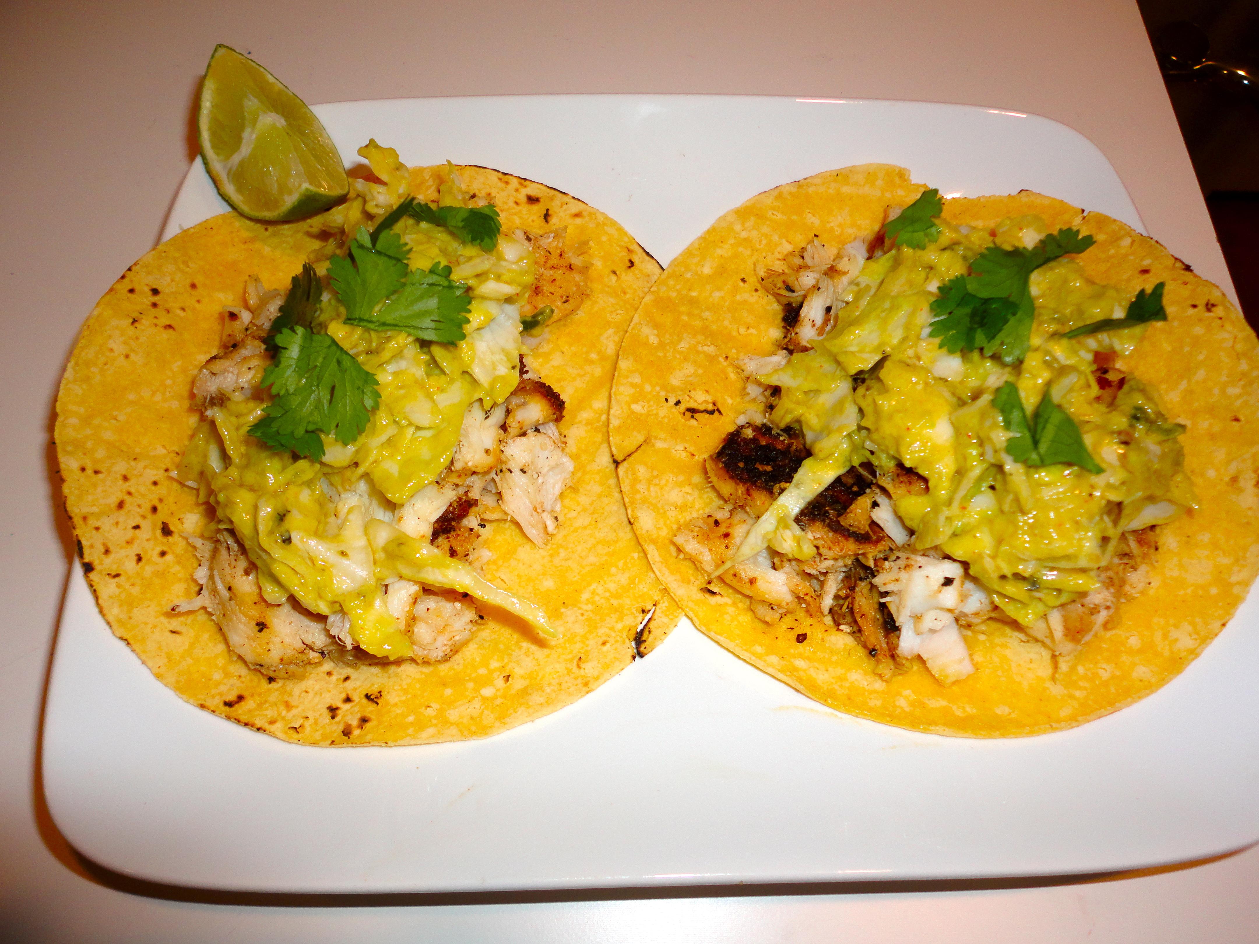 Alex s fish tacos with avocado cream sauce madaleigh for Creamy fish taco sauce