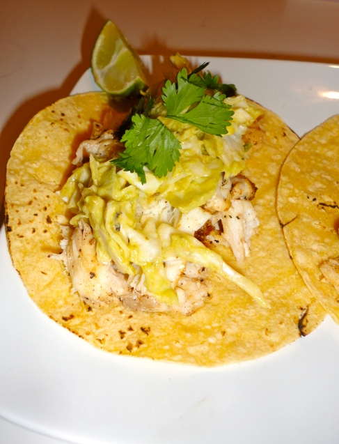 Alex s fish tacos with avocado cream sauce madaleigh for Cream sauce for fish